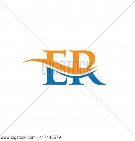 Swoosh Letter Er Logo Design For Business And Company Identity. Water Wave Er Logo With Modern Trend
