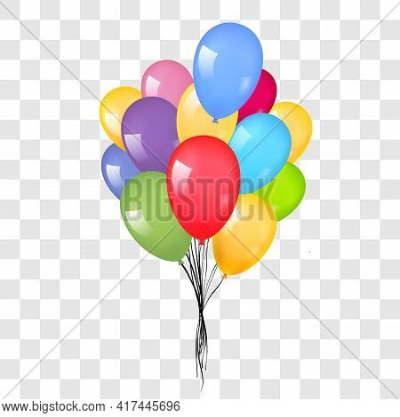 Balloons 3d Bunch Set, Isolated White Transparent Background. Color Glossy Flying Baloon, Ribbon, Bi