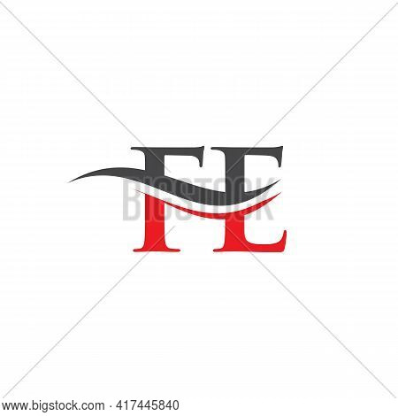 Swoosh Letter Fe Logo Design For Business And Company Identity. Water Wave Fe Logo With Modern Trend
