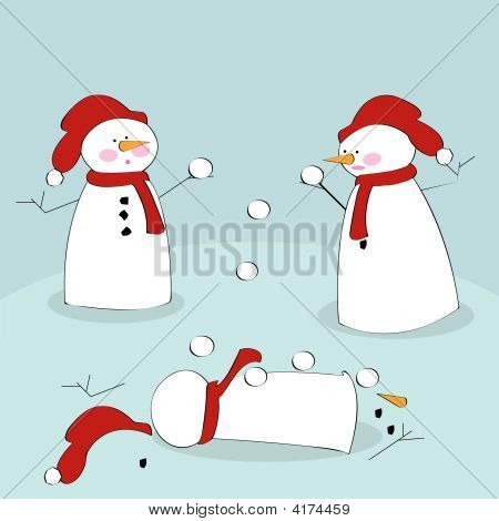 Snowmen Fighting With Snowballs