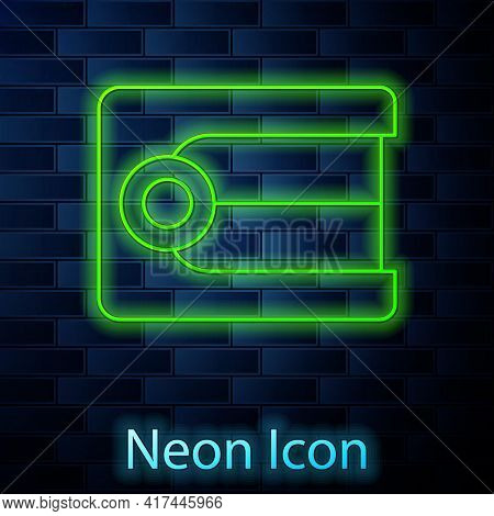 Glowing Neon Line Dentures Model Icon Isolated On Brick Wall Background. Dental Concept. Vector