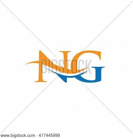 Premium Letter Ng Logo Design With Water Wave Concept. Ng Logo Design