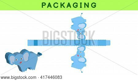 Party Favor Box Die Cut Elephant Design For Sweets, Candies, Small Presents, Bakery. Package Templat