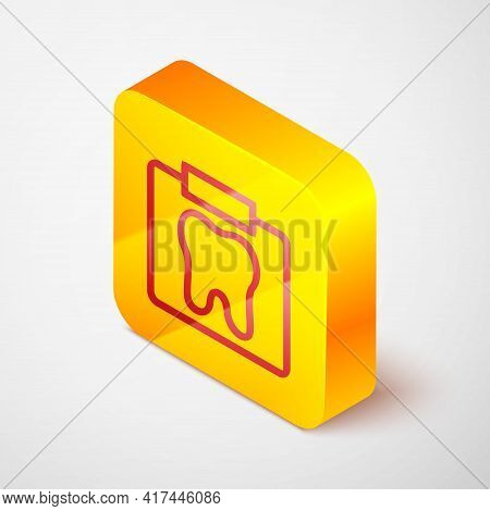 Isometric Line X-ray Of Tooth Icon Isolated On Grey Background. Dental X-ray. Radiology Image. Yello