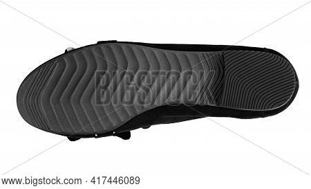 The Sole Of A Suede Shoe Isolated On A White Background. File Contains Clipping Path.