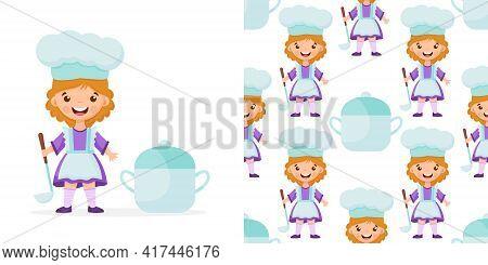 Seamless Pattern Of Cartoon Kitchen Ware And Cute Child Cook. Vector Children Background.