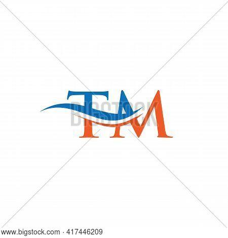 Tm Logo Design Vector. Swoosh Letter Tm Logo Design