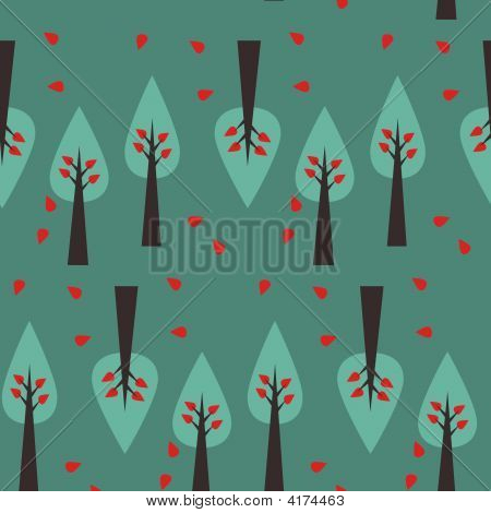 Vector Seamless Tree Pattern