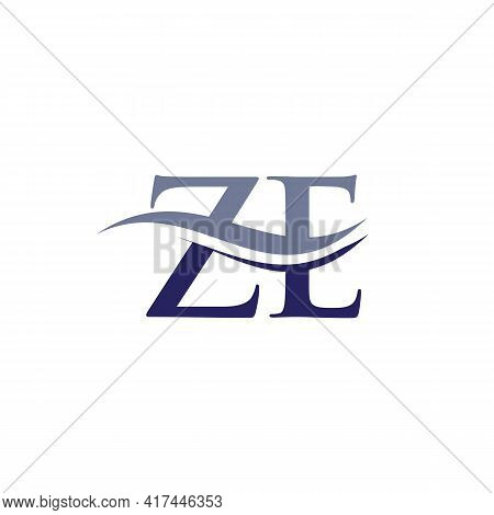 Swoosh Letter Ze Logo Design For Business And Company Identity. Water Wave Ze Logo With Modern Trend