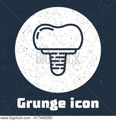 Grunge Line Dental Implant Icon Isolated On Grey Background. Monochrome Vintage Drawing. Vector