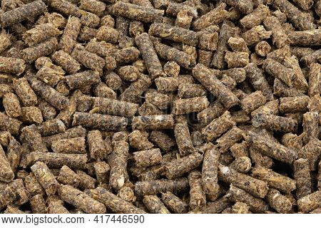 Feed For Livestock. Pig Feed Pellets,feed  For Hamster, Rabbits Or Mouse. Top View.