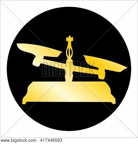 The Balance Gold Silhouette On Black Circle Libra Zodiac Vector Illustration