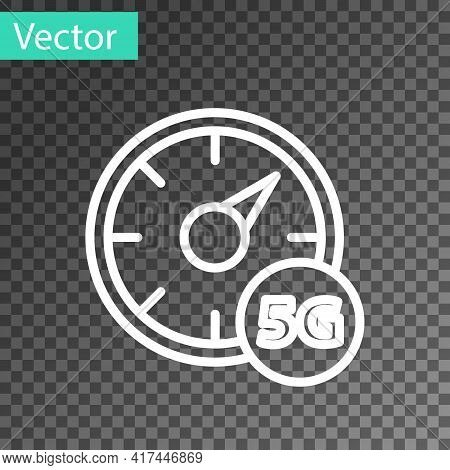 White Line Digital Speed Meter Concept With 5g Icon Isolated On Transparent Background. Global Netwo