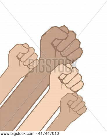 Vector Illustration: Fists Hands. Unity Concept, Revolution, Fight, Protest.