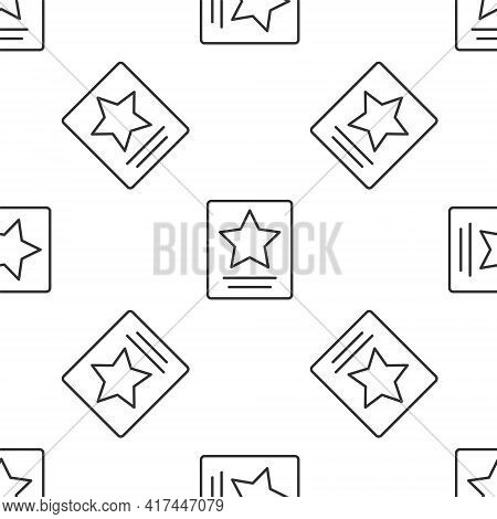 Grey Line Hollywood Walk Of Fame Star On Celebrity Boulevard Icon Isolated Seamless Pattern On White