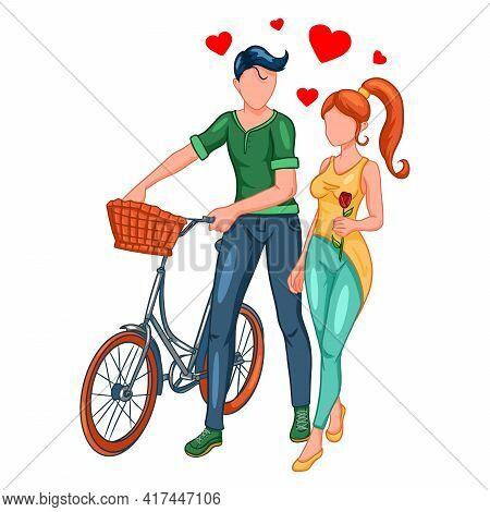 A Loving Couple On A Walk With A Bike.