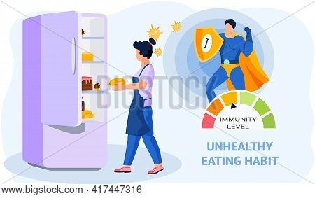 Unhealthy Eating Habit. Woman Puts Fried Chicken In Refrigerator. Harmful, Fatty High-calorie Foods
