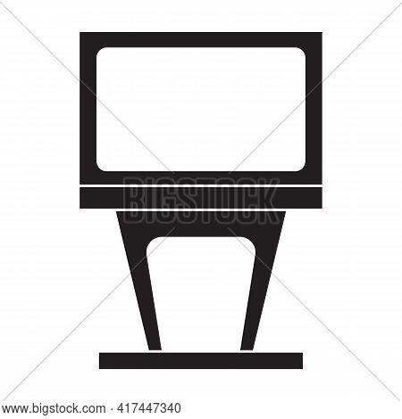 Terminal Bank Vector Black Icon. Vector Illustration Bank Card On White Background. Isolated Black I