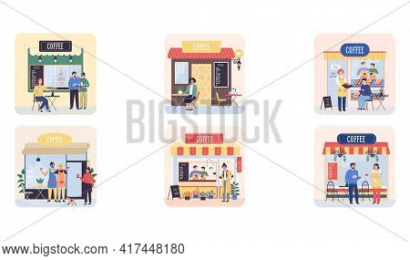 Cofee Shop Building Facade, Customer Talking To Female Waitress In Uniform Makes An Order Scenes Set