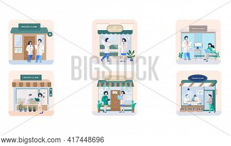 Private Clinic Scenes Set, Medical Care For Patients, Health Care, Treatment And Laboratory Research