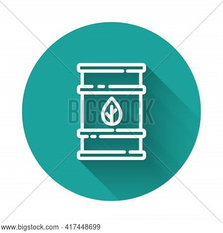White Line Bio Fuel Barrel Icon Isolated With Long Shadow. Eco Bio And Canister. Green Environment A