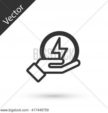 Grey Line Lightning Bolt Icon Isolated On White Background. Flash Sign. Charge Flash Icon. Thunder B