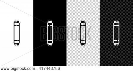 Set Line Long Luminescence Fluorescent Energy Saving Lamp Icon Isolated On Black And White Backgroun