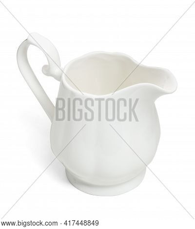 Porcelain Sauce Boat, Pitcher, Creamer Or Ceramic Gravy Boat Isolated On Withe