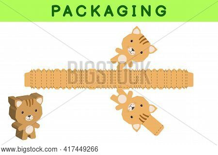 Party Favor Box Die Cut Cat Design For Sweets, Candies, Small Presents, Bakery. Package Template, Gr
