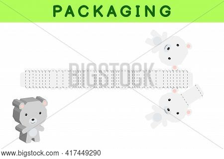 Party Favor Box Die Cut Polar Bear Design For Sweets, Candies, Small Presents, Bakery. Package Templ