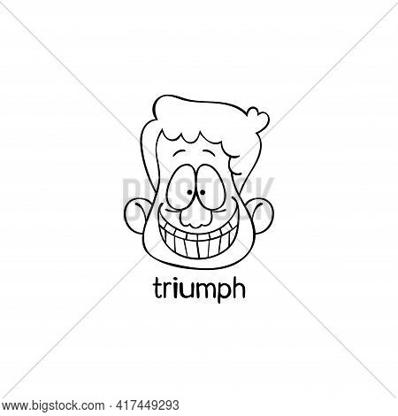 Triumph. Emotion. Human Face. Cartoon Character. Isolated Vector Object On White Background.