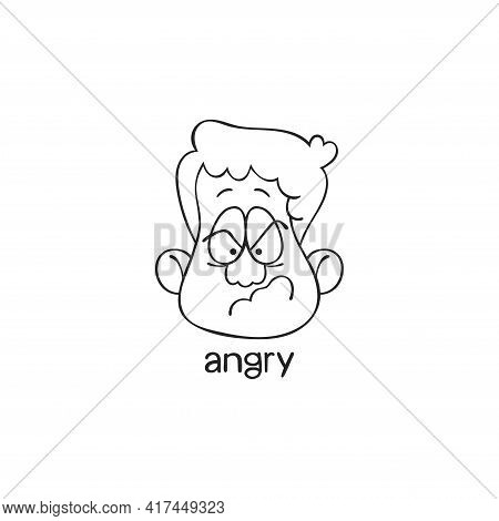 Angry. Emotion. Human Face. Cartoon Character. Isolated Vector Object On White Background.