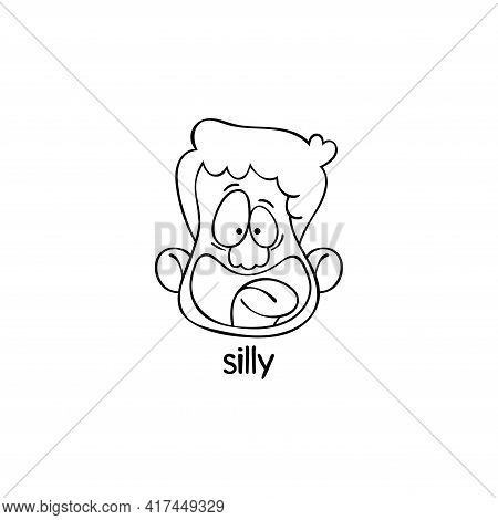 Silly. Emotion. Human Face. Cartoon Character. Isolated Vector Object On White Background.