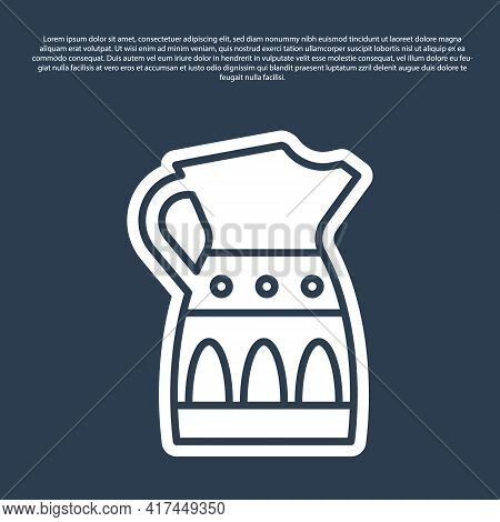Blue Line Sangria Pitcher Icon Isolated On Blue Background. Traditional Spanish Drink. Vector