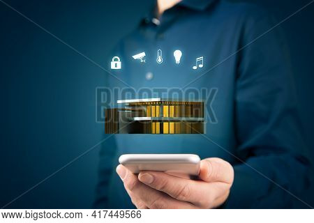Smart Home Concept With Modern Villa, Intelligent House, And Home Automation App Security Concept. S