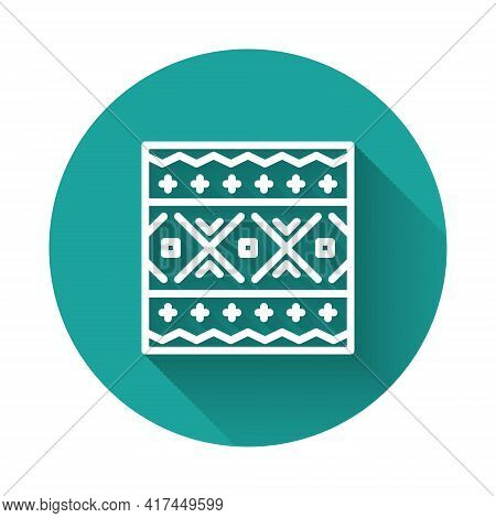 White Line Ukrainian Ethnic Pattern For Embroidery Icon Isolated With Long Shadow. Traditional Folk