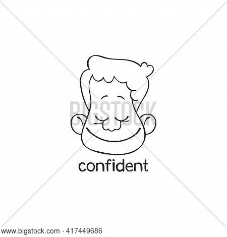Confident. Emotion. Human Face. Cartoon Character. Isolated Vector Object On White Background.