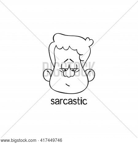 Sarcastic. Emotion. Human Face. Cartoon Character. Isolated Vector Object On White Background.