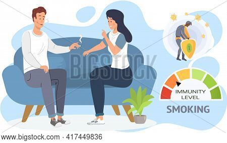 Couple Smoke Cigarettes. Tobacco Dependence Concept. Immunity Level Decreases Due To Smoking