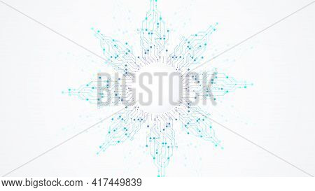 Modern Technology Circuit Board Texture Background Design. Quantum Computer Technologies Concepts, L