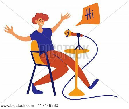 Male Podcaster Talking To Microphone Recording Podcast Isolated Cartoon Character. Radio Host With T