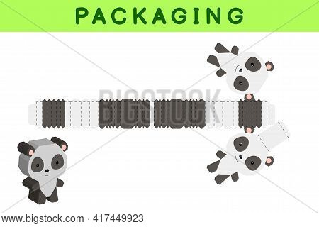 Party Favor Box Die Cut Panda Design For Sweets, Candies, Small Presents, Bakery. Package Template,