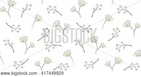 Twigs, Branches With Berries And Inflorescences On A White Background. Plant And Floral Endless Text