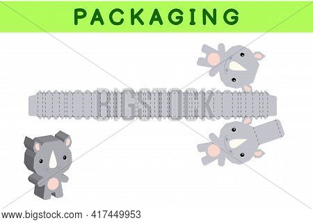 Party Favor Box Die Cut Rhino Design For Sweets, Candies, Small Presents, Bakery. Package Template,