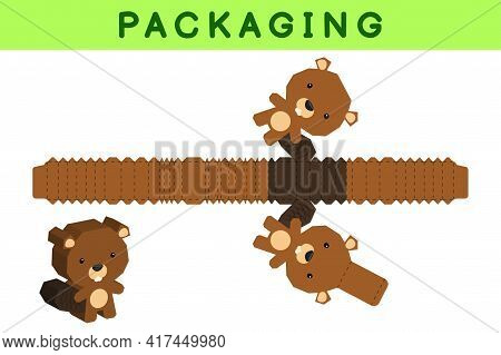 Party Favor Box Die Cut Beaver Design For Sweets, Candies, Small Presents, Bakery. Package Template,