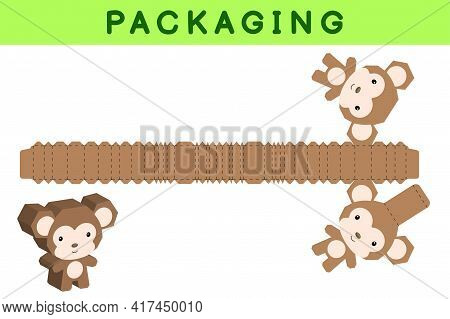 Party Favor Box Die Cut Monkey Design For Sweets, Candies, Small Presents, Bakery. Package Template,