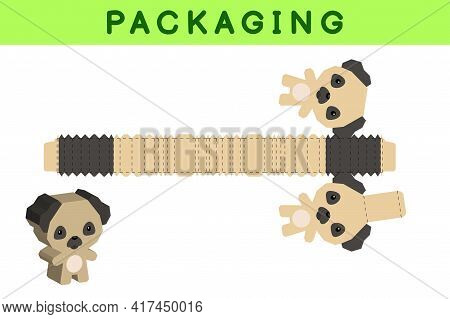 Party Favor Box Die Cut Pug Dog Design For Sweets, Candies, Small Presents, Bakery. Package Template