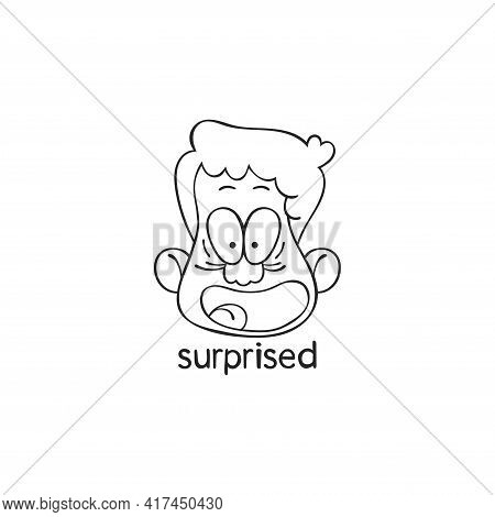 Surprised. Emotions. Human Face. Cartoon Character. Isolated Vector Object On White Background.