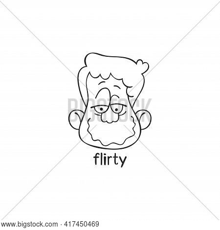 Flirty. Emotion. Human Face. Cartoon Character. Isolated Vector Object On White Background.