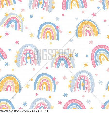 Rainbow. Doodle Cartoon Rainbow. Seamless Vector Pattern (background). Cartoon Print.